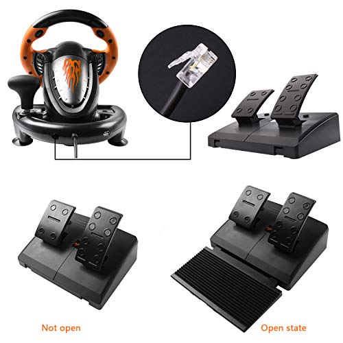 180 Degree Dual-Motor Vibration Driving Gaming Racing Wheel with Responsive Pedals for PC/PS3/PS4/XBOX ONE/Switch PXN-V3II (Orange) 51hj WpTNFL