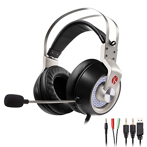Keynice Gaming Headset for PS4, PC, Xbox over Ear Headphones with Mic and Volume Control for Laptop PC Mac iPad and Smart Phones Noise Cancelling Headphone - Space Gray