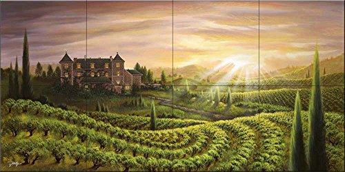 Ceramic Tile Mural - Vineyard Vista- by Jon Rattenbury - Kitchen backsplash / Bathroom shower by The Tile Mural Store
