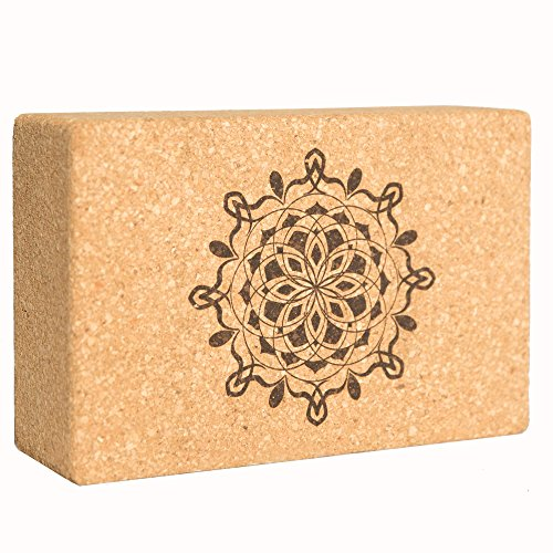 Sukha Designs Natural Cork Handcrafted and Custom Engraved Yoga Block / Yoga Support Brick, Single Block (mandala)