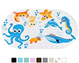 Yimobra Original Bath tub and Shower Mat for Kids Anti Bacterial,Phthalate Free,Latex and Machine Washable Cartoon Pattern Mats Materials,(Baby 27x15 Inch, Ocean Zoo)