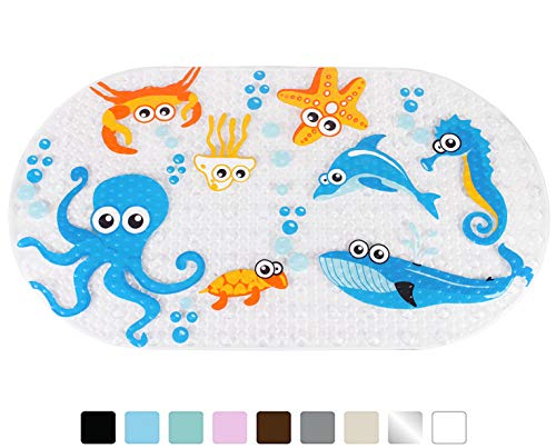 Yimobra Original Bath tub and Shower Mat for Kids Anti Bacterial,Phthalate Free,Latex and Machine Washable Cartoon Pattern Mats Materials,(Baby 27x15 Inch, Ocean Zoo) by Yimobra