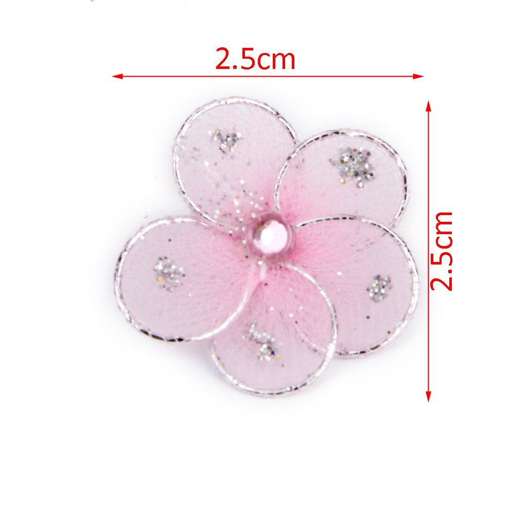 50pcs 2.5x2.5cm Mesh STOCKING FLOWERS Scrapbook Craft Wedding Party Favour Decor