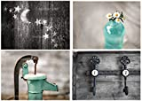 Rustic Bath 4 Print Set - 8''x10'', Country Decor, Primative, Rustic Bath, Farmhouse, Teal, Aqua