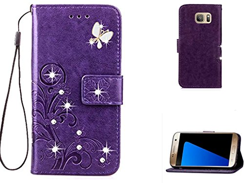 S7 Edge 3D Handmade Beauty Crystal Rhinestone Case,Inspirationc Bling Fashion Butterfly Lucky Flowers PU Leather Credit Card ID Stand Holders Wallet C…