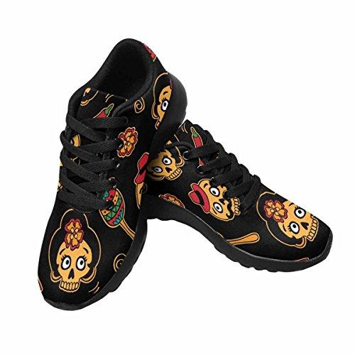 Interestprint Mujeres Trail Running Zapatos Jogging Ligero Deportes Walking Athletic Sneakers Sugar Skulls Multi 1