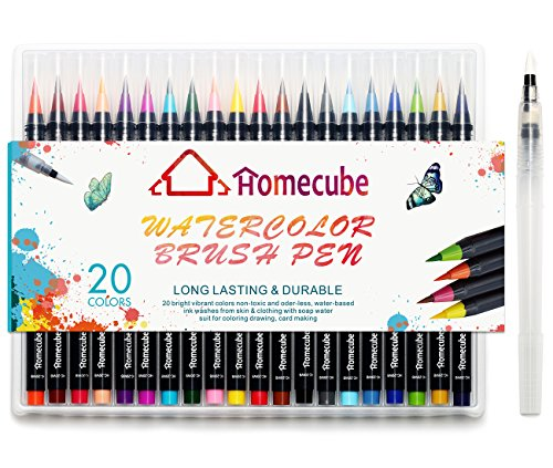 watercolor-brush-pen-homecube-20-pcs-different-color-painting-brush-soft-flexible-tip-water-coloring