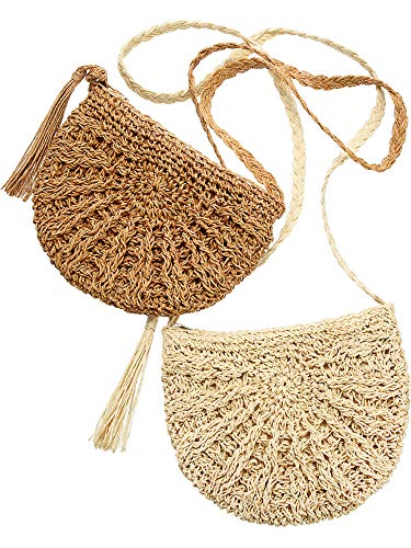 2 Pieces Woven Straw Handbag Beach Shoulder Bag with Tassels Straw Crossbody Purse Retro Envelope Shoulder Bag for Women