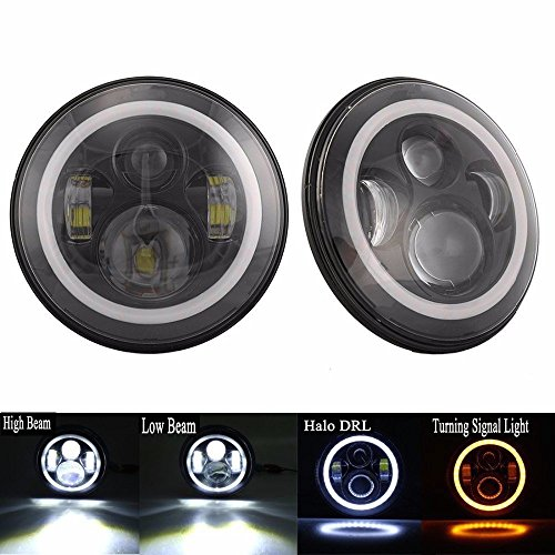 7 inch Led Headlights Halo Headlamp Angle Eyes with for sale  Delivered anywhere in USA