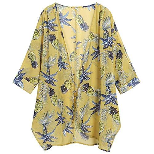 Printing Cardigan Tops, Clearance Duseedik Womens Casual Floral Print Long Sleeve Chiffon Loose Kimono Blouse Tops (Jersey Classic Screen Print)