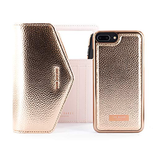 Ted Baker Fashion Selie Crossbody Case for iPhone 8 Plus / 7 Plus, Protective Wallet iPhone 8 Plus / 7 Plus Cover for Professional Women - Rose Gold