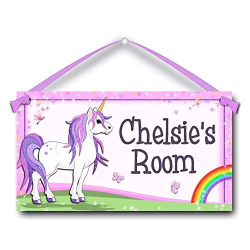 (Kids Door Sign Personalised Unicorn with Rainbow Room Plaque)