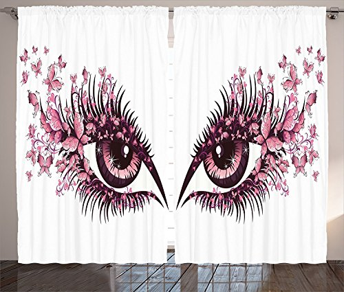 [Butterflies Decoration Curtains Female Eye With Butterflies Eyelashes Mascara Stare Makeup Party Celebration Living Room Bedroom Decor 2 Panel] (Clown Around Makeup Kit)