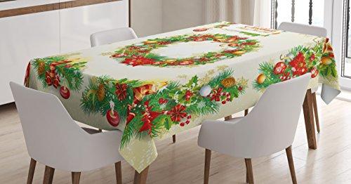 Ambesonne Christmas Tablecloth, Old Fashioned Nostalgic Chri