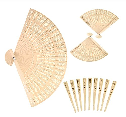 6MILES 48 Pcs Chinese Sandalwood Scented Wooden Openwork Personal Hand Held Folding Fans for Wedding Decoration Birthdays Home Gift by 6MILES