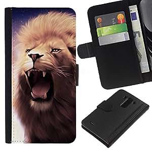 All Phone Most Case / Oferta Especial Cáscara Funda de cuero Monedero Cubierta de proteccion Caso / Wallet Case for LG G3 // Lion Roar Fangs Teeth Mane Purple Yawn