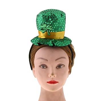 f38cb278 gLoaSublim St Patricks Day Decorations,Green Irish Clover Sequins Headband  Hat St Patrick's Day Fancy