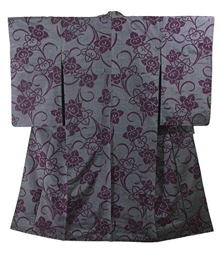 アンティーク 着物 銘仙 橘の意匠 正絹 袷 裄63.5cm 身丈145cm
