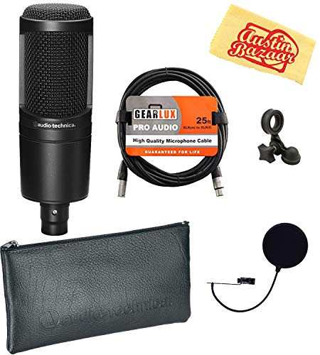 - Audio-Technica AT2020 Cardioid Condenser Microphone Bundle with Pop Filter, XLR Cable, and Austin Bazaar Polishing Cloth