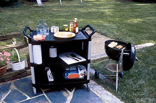 Rubbermaid Commercial Products FG409300BLA Chariot de service avec panneaux de protection, 136,07kg 3étagères, HDPE, Noir