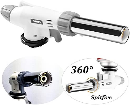 Professional Culinary Torch with Safety Lock /& Adjustable Flame for Cooking Cr/ème Brulee Soldering Baking AOHEZI Butane Torch