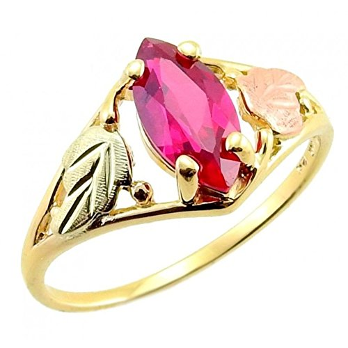 Created Marquise Ruby Ring, 10k Yellow Gold,