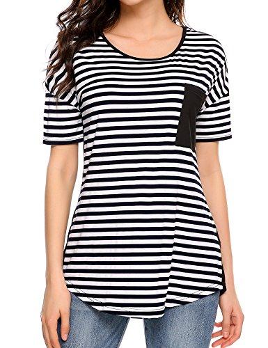 Meaneor Womens Casual Slub Burnout V-Neck T-Shirt (Striped Slub V-neck Top)