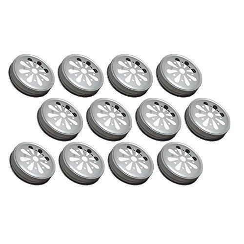 Sunshine Mason Co. Daisy Flower Cut Mason Jar Lids 12 Pieces, Silver ()