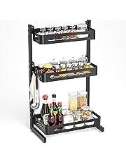 SOLEDI Spice Rack Organizer voor aanrecht, roestvrij stalen keukenaanrecht opbergrek, stevig en duurzaam, maximaliseren keukenruimte, eenvoudig te monteren 3 lagen