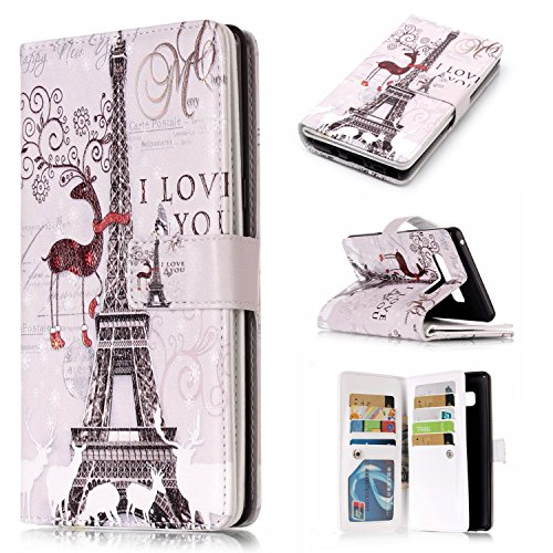 STENES Galaxy Note 8 Wallet Case - Stylish Series Eiffer Tower Elk Premium Soft PU Color Matching [Stand Feature] Leather Wallet Cover Flip Cases Samsung Galaxy Note 8 Retro Dust Plug - Grey