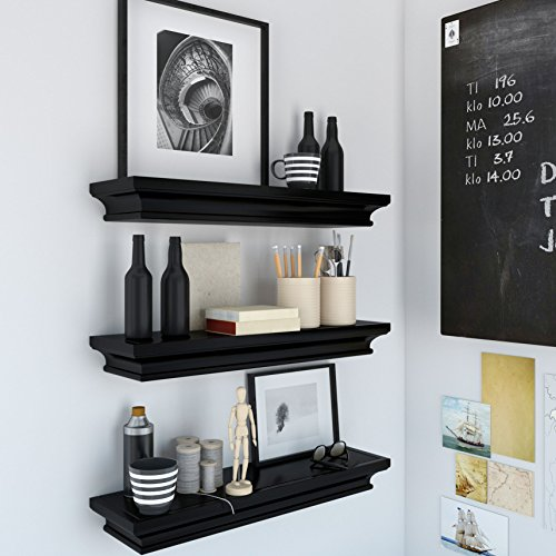 Set of 3 Decorative Wall Floading Shelf Mantle Black for Home and Office Traditional Molding Style for Storage Display Ledge Concealed Mount Bracket Buyer Receives 3 Shelves (Ledge Shelving)