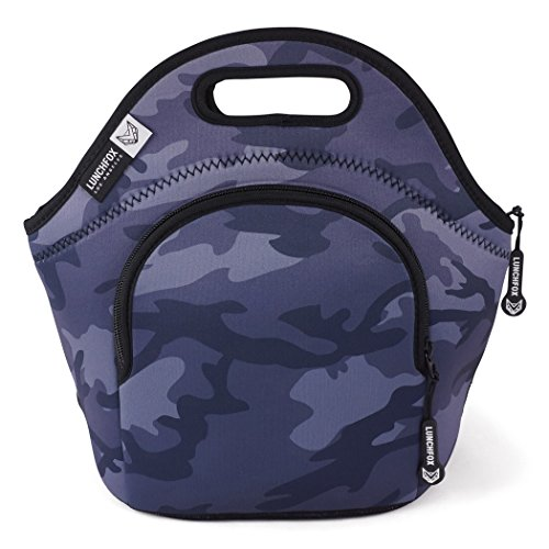 LunchFox Camo Neoprene Lunch Tote Bag, Blue/Grey Camouflage - Runyon - Angeles Shopping Los Downtown