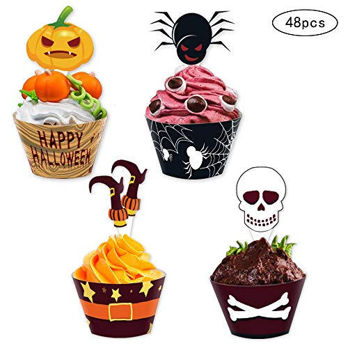 Halloween Cupcake Topper Wrapper party supplies,Pumpkin/Spider/Witch's Boot/Skull Dish Decoration 48pcs