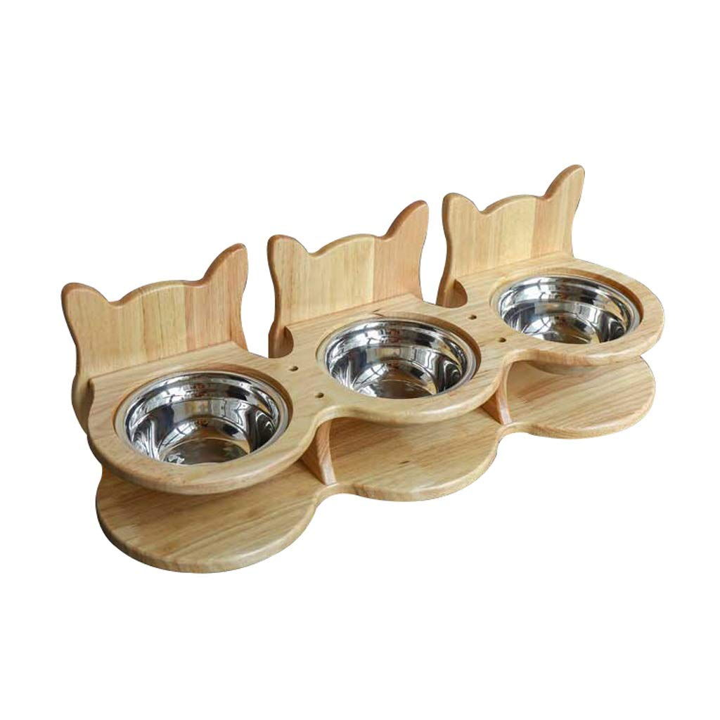 3 bowls Cat Dog Bowls, Pet Dining Table, Stainless Steel Cat Food Bowl Cat Feeding Bowl Cat Water Bowl, Double Bowl Feeder, for Cats Puppies (Size   3 Bowls)
