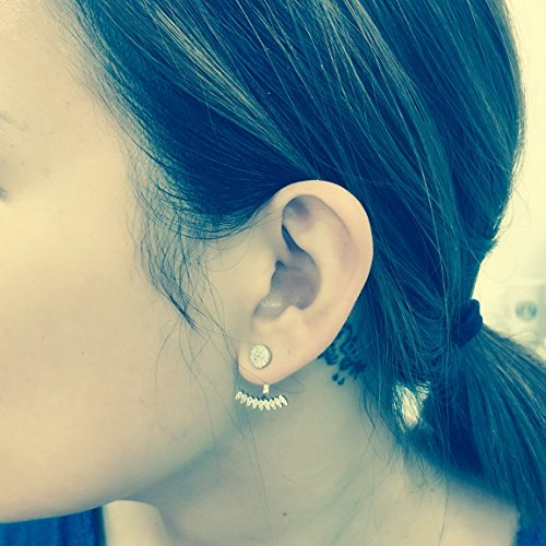 Platinum Plated 925 Sterling Silver Round Cubic Zirconia Round Disc Stud And Curved Bar Earring Jackets by Joy and Rachel (Image #3)