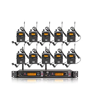 Top Quality!! Xtuga RW2080 In Ear Monitor System 2 Channel 2/4/6/8/10 Bodypack Monitoring with in earphone wireless SR2050 Type! (10 bodypack with transmitter)