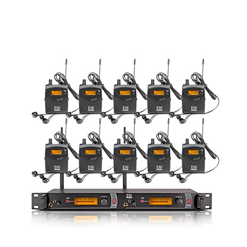 Xtuga RW2080 in Ear Monitor System 2 Channel 2/4/6/8/10 Bodypack Monitoring with in Earphone Wireless SR2050 Type! (10 bodypack with Transmitter)