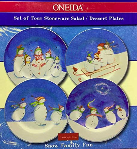 SNOW FAMILY FUN, SET OF FOUR STONEWARE SALAD/DESSERT PLATES, ONEIDA