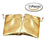 Kirity Jewelry Favor Bags Gift Bags Samples Display Drawstring Pouches (gold),50Pcs