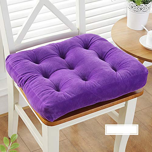 YEARLY Solid Color Chair Cushions, Thicken Plush Seat Pads Student Stool Ass Cushion Tatami Indoor Outdoor Chair Pads-Purple 48x48cm(19x19inch) (Bench Cushion Purple)