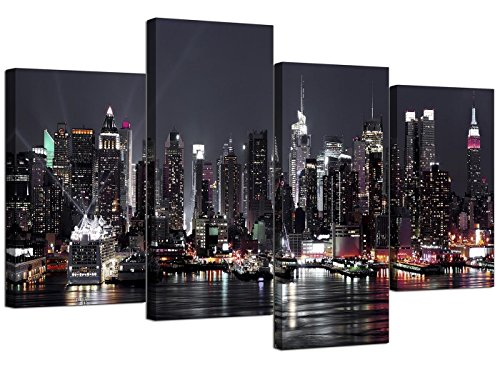 Canvas Pictures of New York Skyline for your Living Room - NYC Cityscape Prints - Modern Split Set of 4 City Canvases - Multi Panel - XL - 130cm Wide