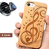 iProductsUS Music Phone Case Compatible with iPhone 8 Plus, 7 Plus, 6 Plus, 6s Plus and Magnetic Mount, Wood Cases Engraved Music Sign Built in Metal Plate, TPU Shockproof Protective Cover (5.5 inch)