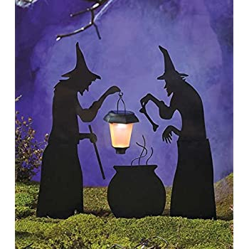 Amazon.com: 3 Piece Witch Stake Cauldron Pot Solar Lighted Lantern ...