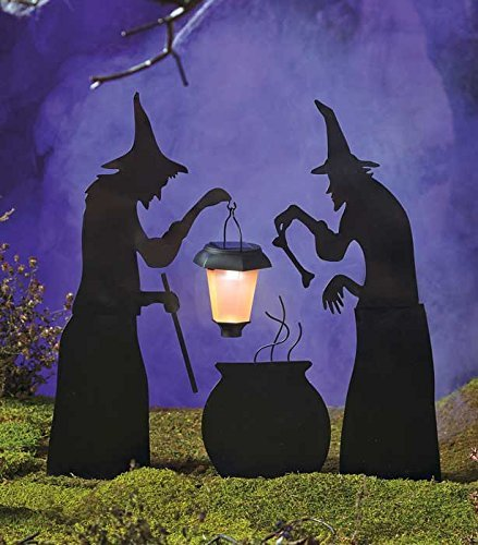 [3 Piece Witch Stake Cauldron Pot Solar Lighted Lantern Halloween Silhouette Yard Display Decoration] (Outdoor Witch Decorations)