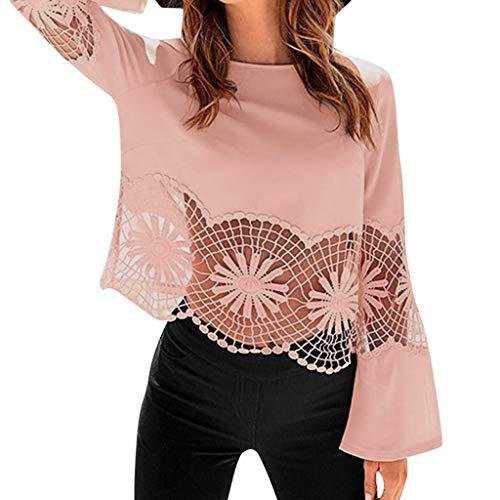 (HIRIRI Women Round Neck Blouse Elegant Sexy Flare Sleeve Hollow Out Ladies Shirt Beautiful Pattern Tank Tops Pink)