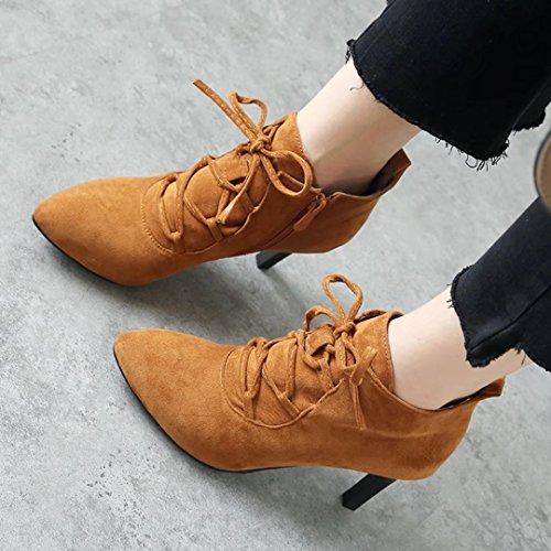 AIYOUMEI Damen Stiletto Stiefeletten mit 7cm Absatz und Schnürung Herbst Winter Reißverschluss Stiefel Ankle Boots Braun