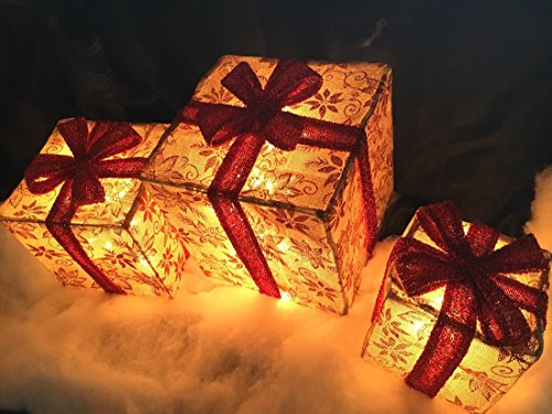 3pc Lighted Burlap Floral Christmas Gift Boxes Presents Outdoor Christmas Decor by Candy Cane Lane