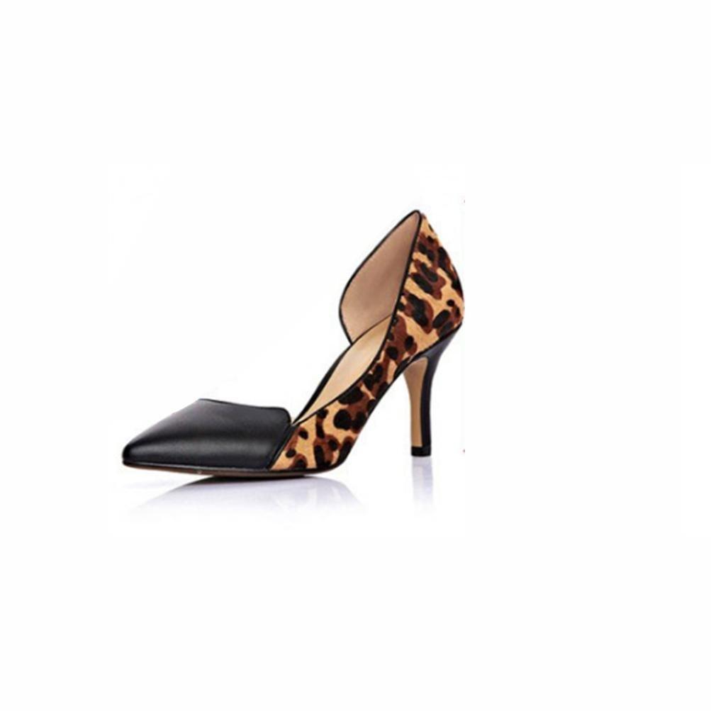 QPYC Frauen Damen High Heels Stiefel Leopard Pferd Haar Spitz Single Schuhe High Heels Fine mit Seite leere echtes Leder weibliche Schuhe die neue