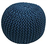Single Piece Dark Blue Home Decor Disco Cables Pouf, Modern Style, Handmade, Soft Touch, Textured Pattern, Round Shape Pouf To Put Feet Up