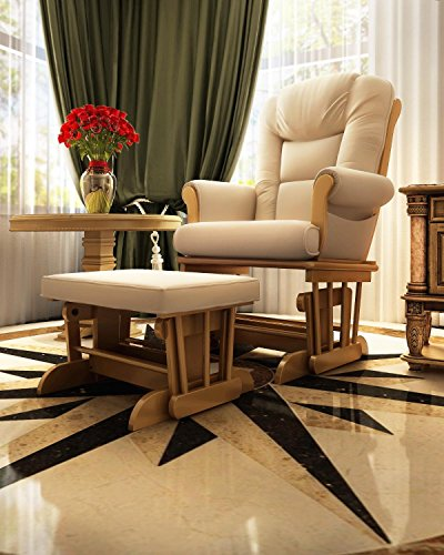 Pecan Upholstered Chair - Naomi Home Deluxe Multiposition Sleigh Glider and Ottoman Set Pecan/Sand